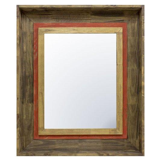 Espelho Cristal com Moldura Marrom e Vermelha