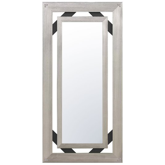 Espelho Bisotado com Moldura Prata e Preto Rústico