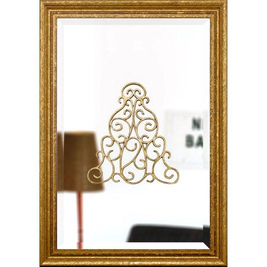 Espelho Clássico com Moldura Dourada e Bisotê 50x70cm