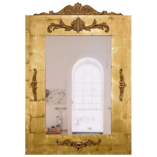 Espelho Clássico com Moldura em Folha de Ouro 95x140cm