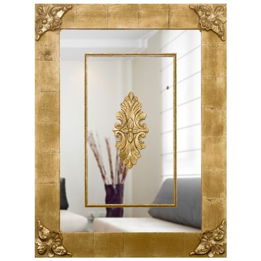 Espelho Clássico com Moldura Folheada e Apliques 70x120cm