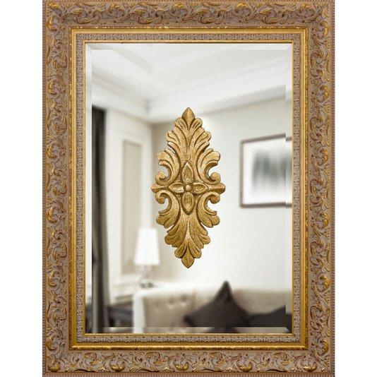 Espelho Clássico Moldura Dourada Sombreada com Adornos 70x90cm