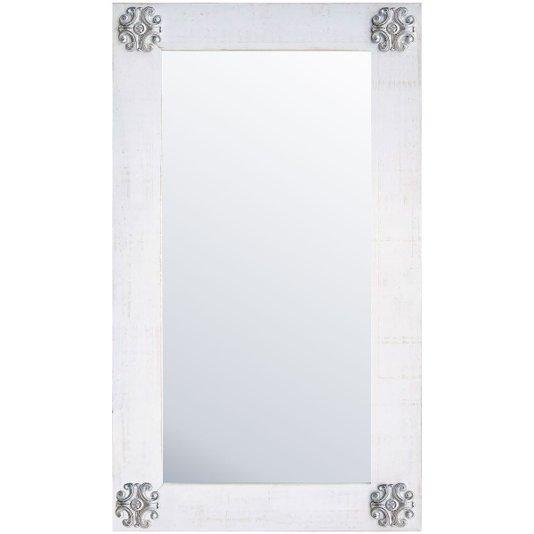 Espelho Branco Provençal com Apliques Prata