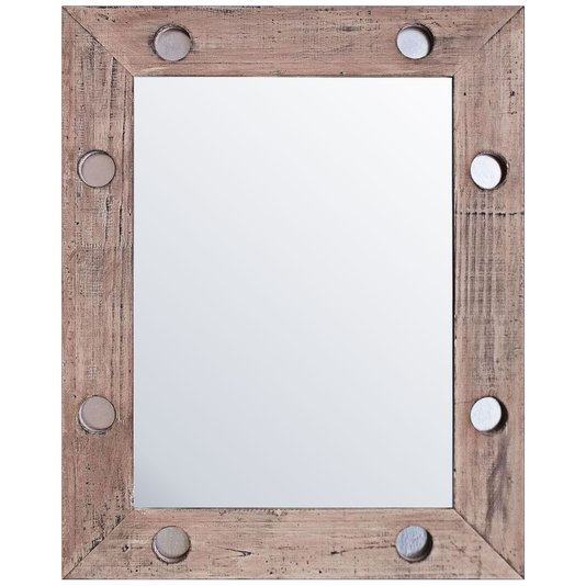 Espelho Rústico com Moldura Marrom e Detalhes em Prata