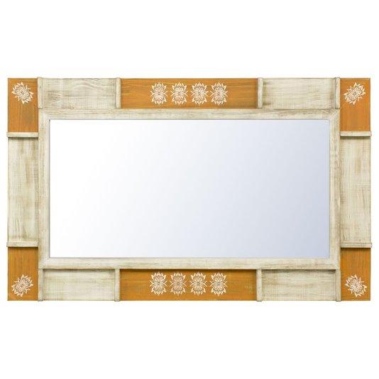 Espelho Rústico Moldura Branca e Amarela Patinada