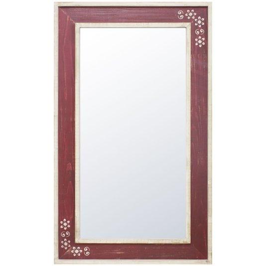 Espelho com Moldura Branca e Vermelha com Detalhes Florais