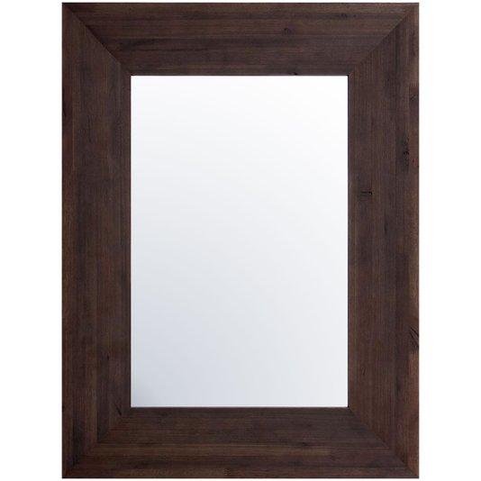 Espelho com Moldura Moderna Marrom com Aspecto Rústico