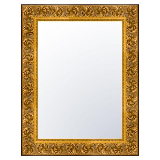 Espelho Cristal com Moldura Gravada na cor Dourado Envelhecido