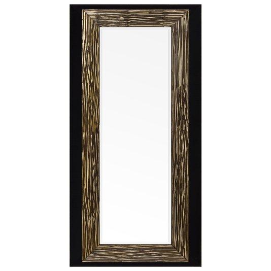 Espelho com Moldura Rústica Cor Marrom e Preto