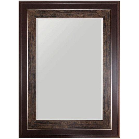 Espelho de Parede com Moldura Larga Marrom com Bisotê 60x80cm