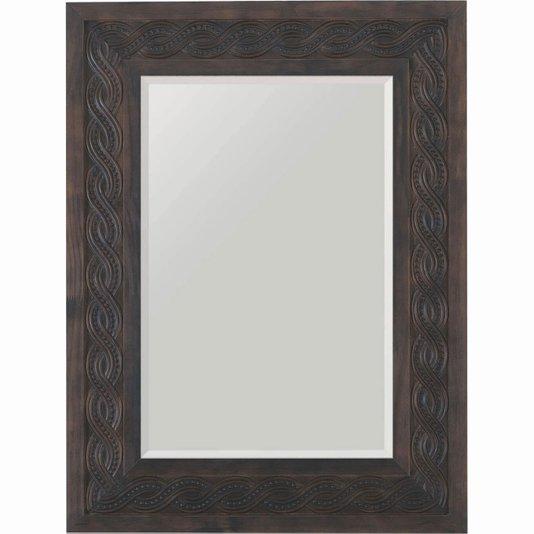 Espelho de Parede com Moldura Marrom e Bisotê 60x80cm