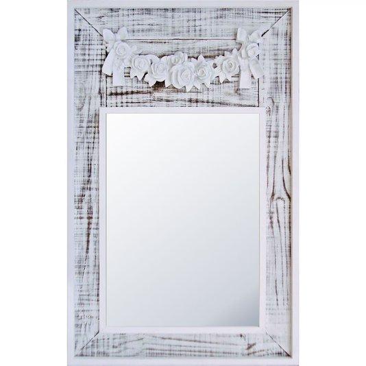 Espelho Decorativo Branco Provençal com Aplique Floral