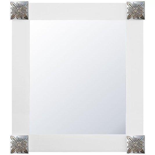 Espelho Decorativo com Moldura Branca e Apliques Prata