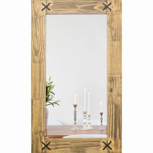 Espelho Decorativo Rústico Madeira Natural e Corano