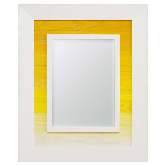 Espelho Decorativo com Moldura Branca com Amarelo Rústico