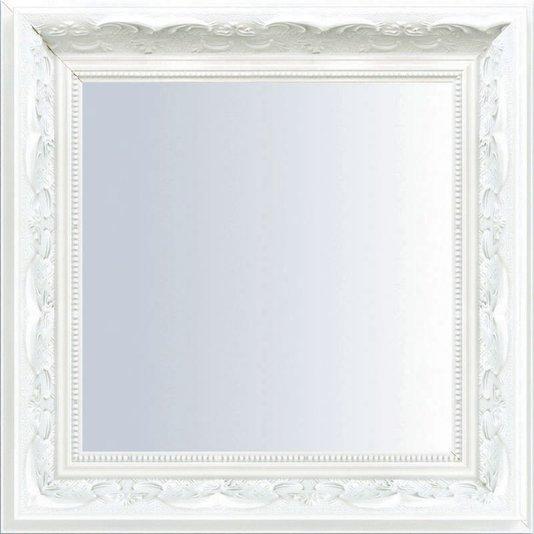 Espelho Decorativo com Moldura Branca Retrô