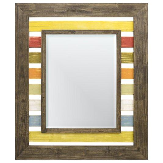 Espelho Decorativo com Moldura em Várias Cores Rústico com Bisotê
