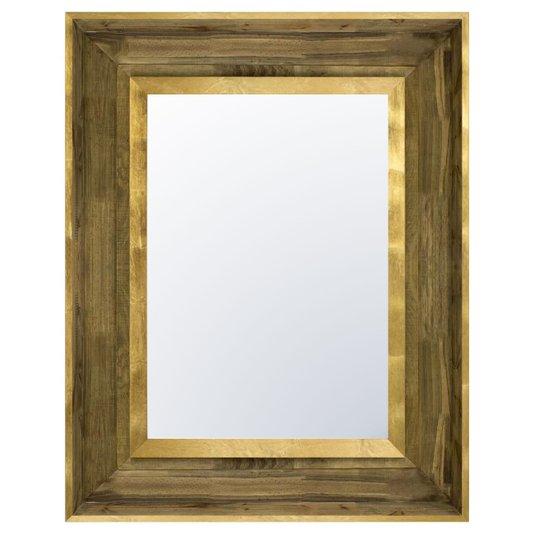 Espelho Decorativo com Moldura Marrom com Detalhes em Folha de Ouro