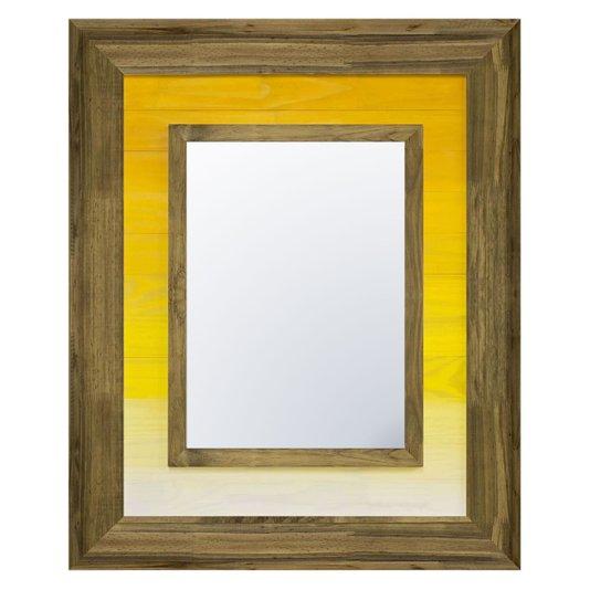 Espelho Cristal com Moldura Marrom e Amarelo Rústico