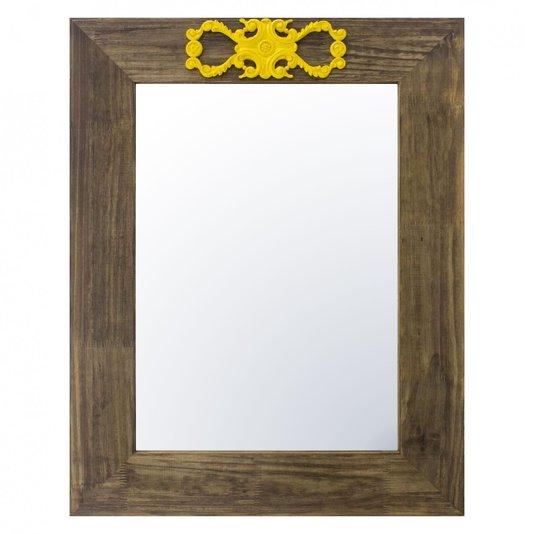 Espelho Decorativo com Moldura Marrom e Aplique Amarelo