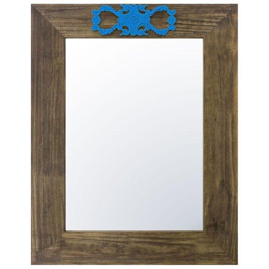 Espelho Decorativo com Moldura Marrom e Aplique Azul