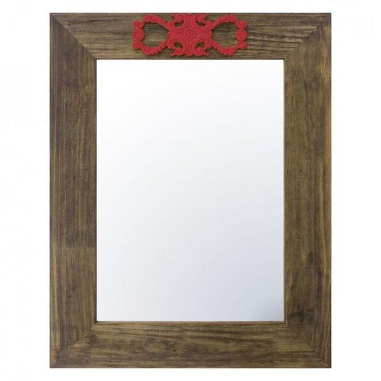 Espelho Decorativo com Moldura Marrom e Aplique Vermelho