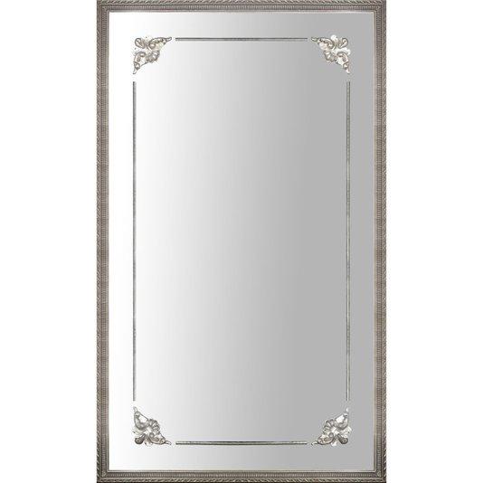 Espelho Decorativo com Moldura Prata Clássica e Apliques Pratas
