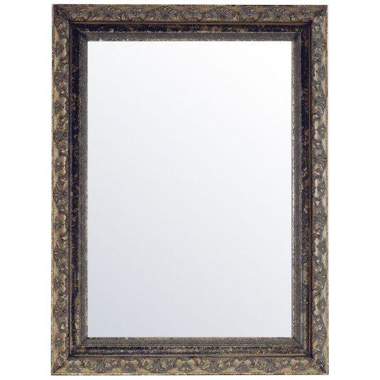 Espelho Decorativo com Moldura Prata Envelhecido e Preto