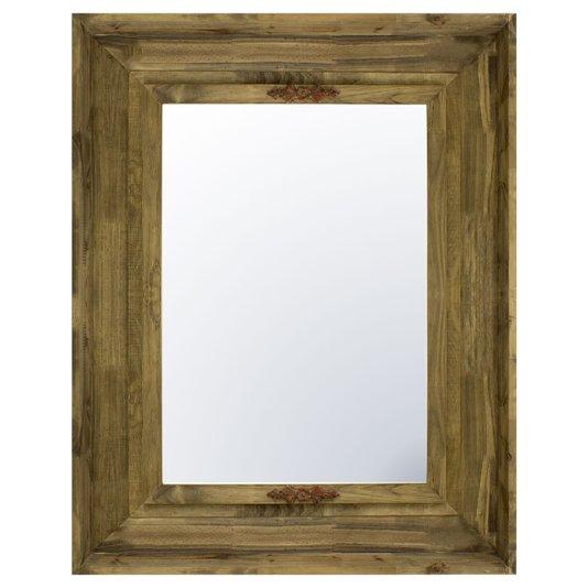 Espelho Decorativo com Moldura Rústica com Apliques Vermelhos