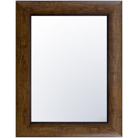 Espelho Decorativo Cristal Moderno Moldura Cor Madeira Escura