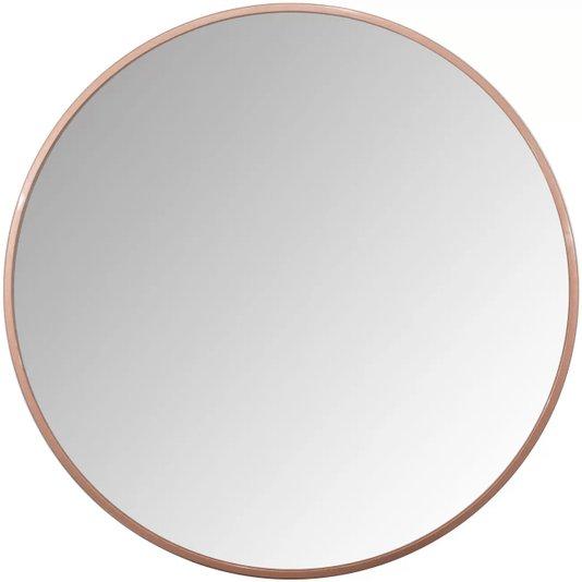Espelho Decorativo Redondo Com Moldura Cobre