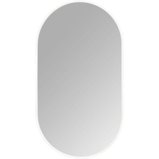 Espelho Decorativo Retangular Arredondado com Moldura Branca