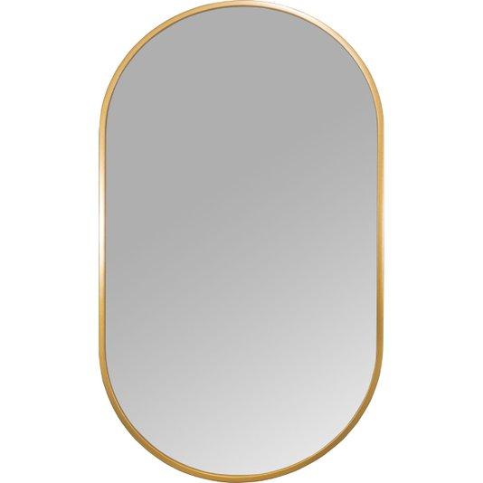 Espelho Decorativo Retangular Arredondado com Moldura Dourada