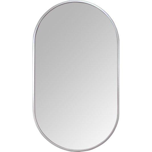 Espelho Decorativo Retangular Arredondado com Moldura Prata