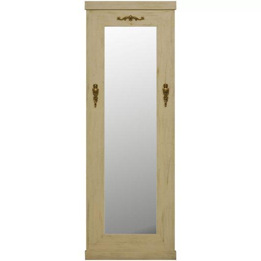 Espelho Decorativo Rústico Branco Patinado Envelhecido com Apliques Dourados