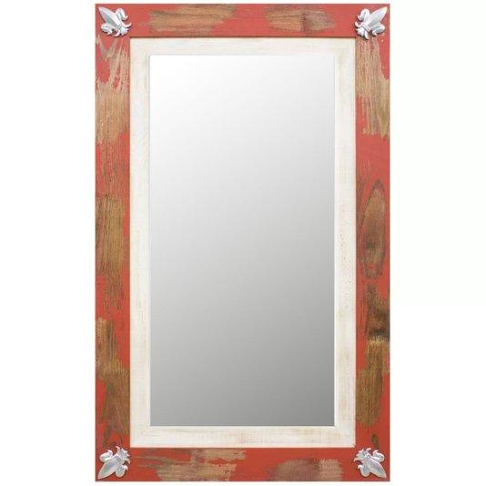 Espelho Decorativo Rústico Moldura com Apliques Prata