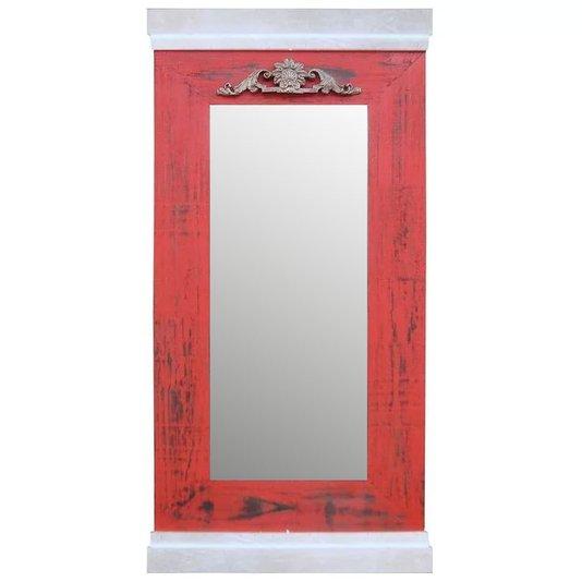 Espelho Decorativo Rústico com Moldura nas Cores Vermelha e Prata