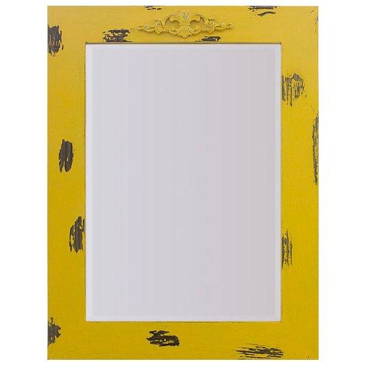 Espelho Decorativo Rústico com Moldura Amarela Lixada e Aplique na Parte Superior
