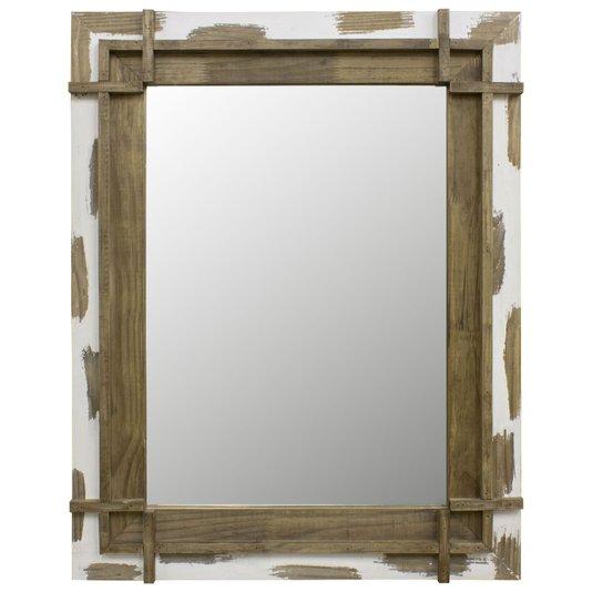 Espelho Decorativo Rústico com Moldura Marrom e Branca