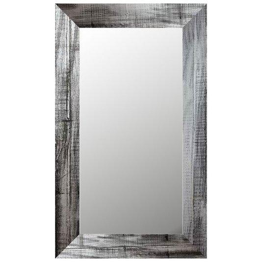 Espelho Decorativo Rústico com Moldura na Cor Prata Escovado