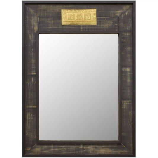 Espelho Decorativo Rústico com Moldura na Cor Preta e Aplique na Cor Dourada