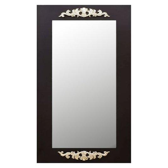 Espelho Decorativo Rústico com Moldura Preta e Apliques na Cor Prata