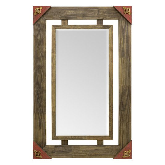 Espelho Decorativo Rústico com Moldura Marrom Vazada e Acabamento Vermelho com Apliques Dourados