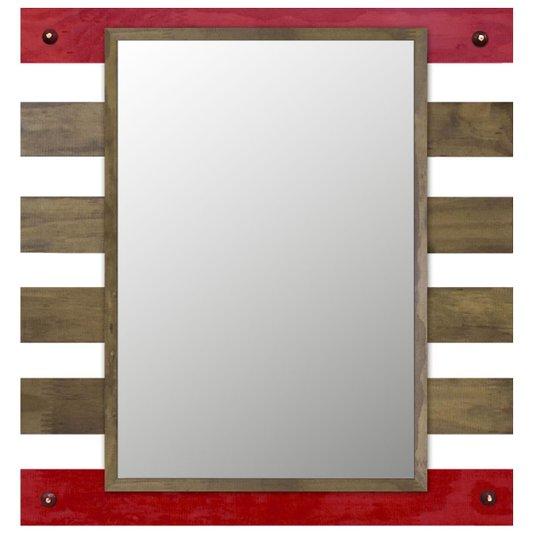 Espelho Decorativo Rústico com Moldura Vazada nas Cores Marrom e Vermelha