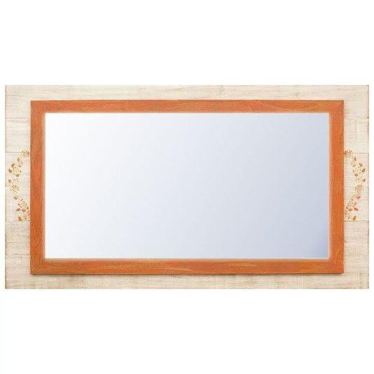Espelho Decorativo Rústico Moldura Laranja e Branco Patinado