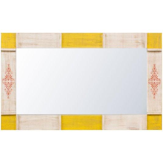 Espelho Decorativo Rústico Moldura Branca e Amarela Patinada