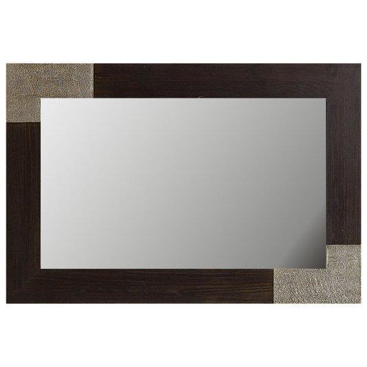 Espelho Decorativo Rústico Moldura Marrom com Acabamento Folheado em Prata