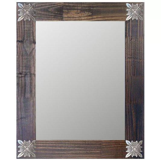 Espelho Decorativo Rústico Moldura Marrom com Apliques na Cor Prata Envelhecido