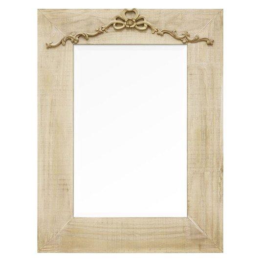 Espelho Decorativo Rústico Moldura na Cor Creme Estilo Provençal com Aplique