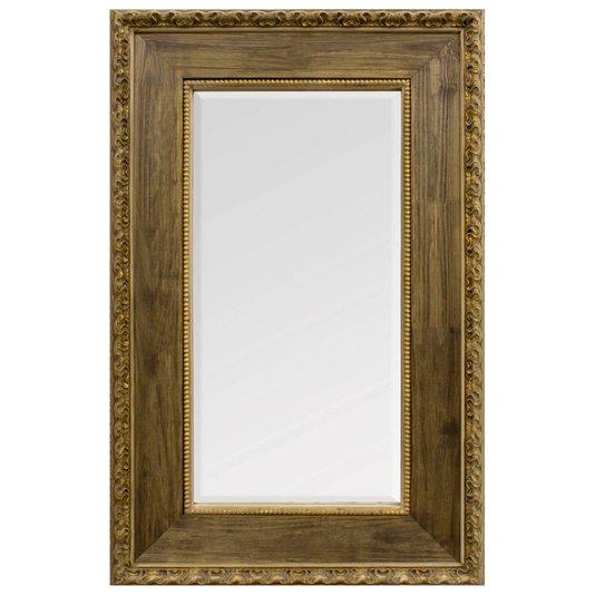 Espelho Decorativo Rustico na cor Natural Envelhecido com Bisotê